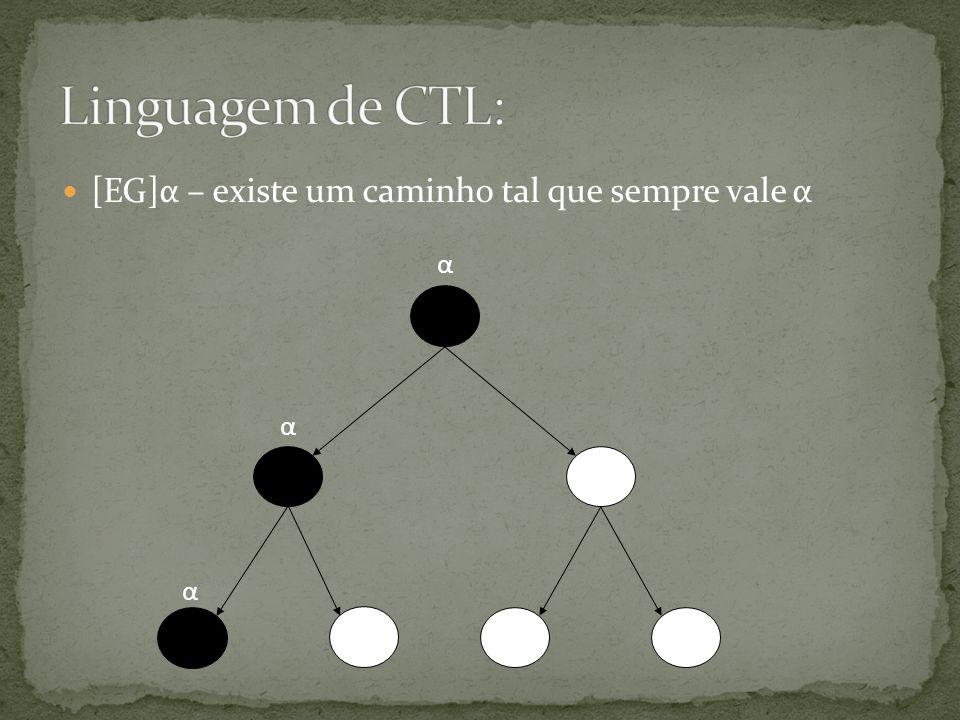 Linguagem de CTL: [EG]α – existe um caminho tal que sempre vale α α
